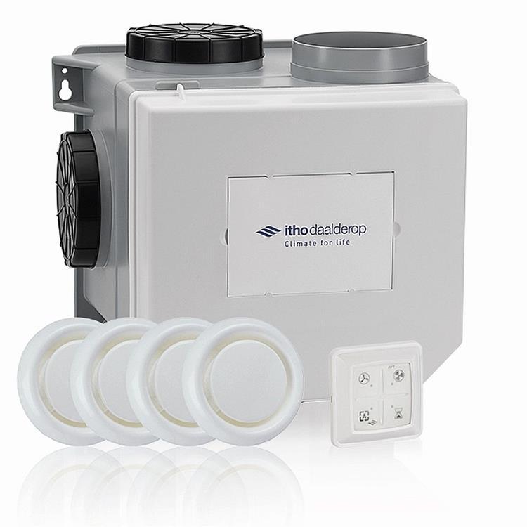 Itho Daalderop CVE- S/RFT woonhuisventilator - All in 1 pakket met 4 x KLV125