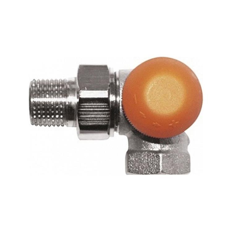 Herz TS-98-V thermostatische radiatorkraan - dubbel haaks rechts 1/2''xM28