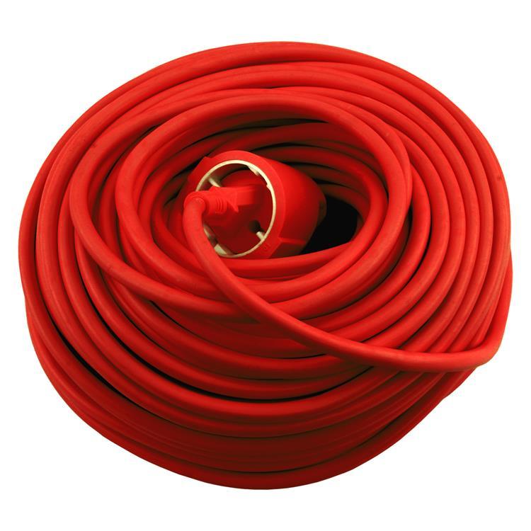 Exin verlengsnoer randaarde,3 x 1.5 mm². 25 m rood