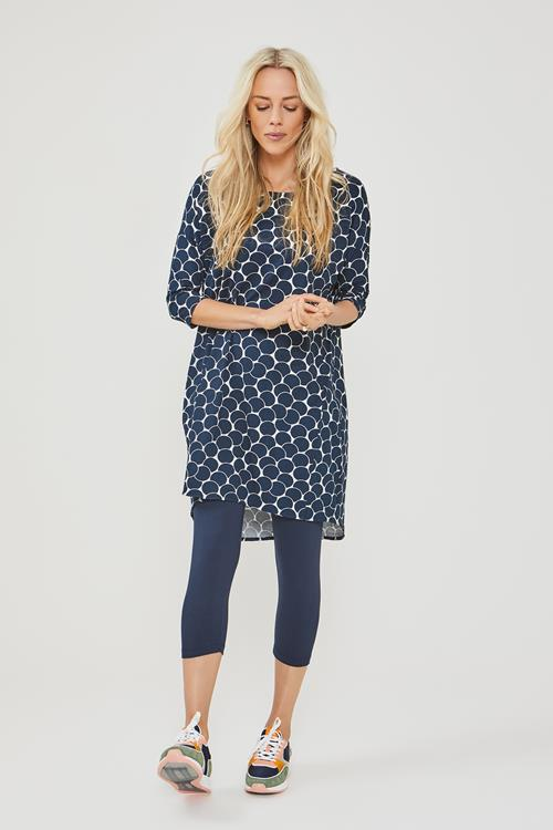 Easy loose dress 3/4 sleeves confetti print donkerblauw