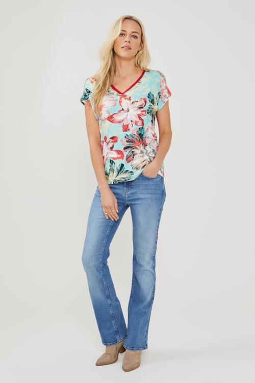 Colour Me In loose V- tee, turquoise met tropical print