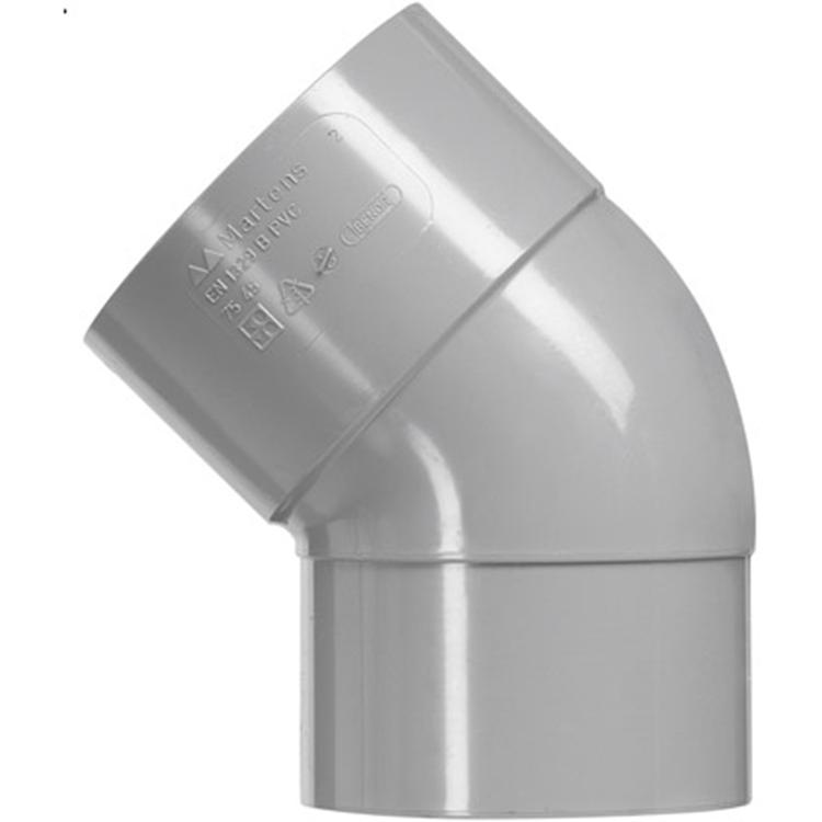 Martens PVC bocht 40mm 1xlijm 45gr grijs