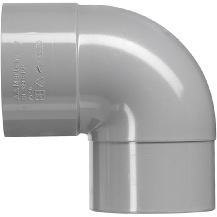 Martens PVC bocht 32mm 1xlijm 87gr grijs