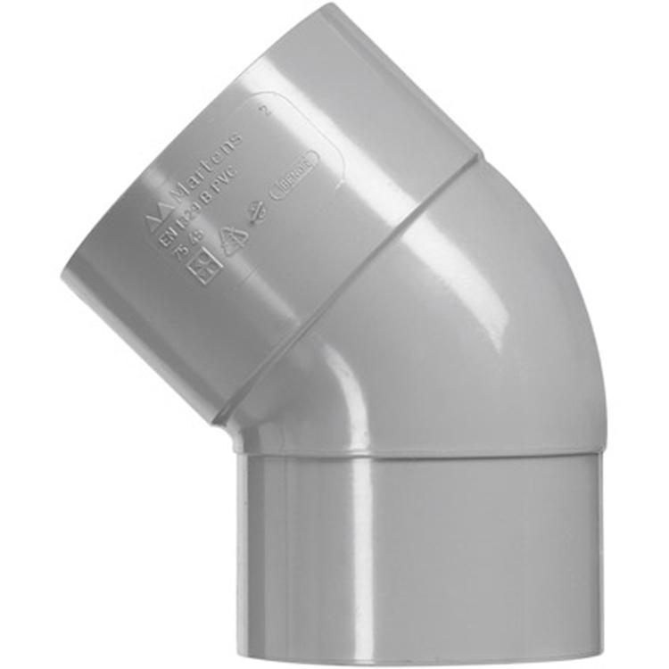 Martens PVC bocht 32mm 1xlijm 45gr grijs