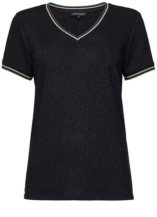 Tramontana T-Shirt Lurex Rib Details