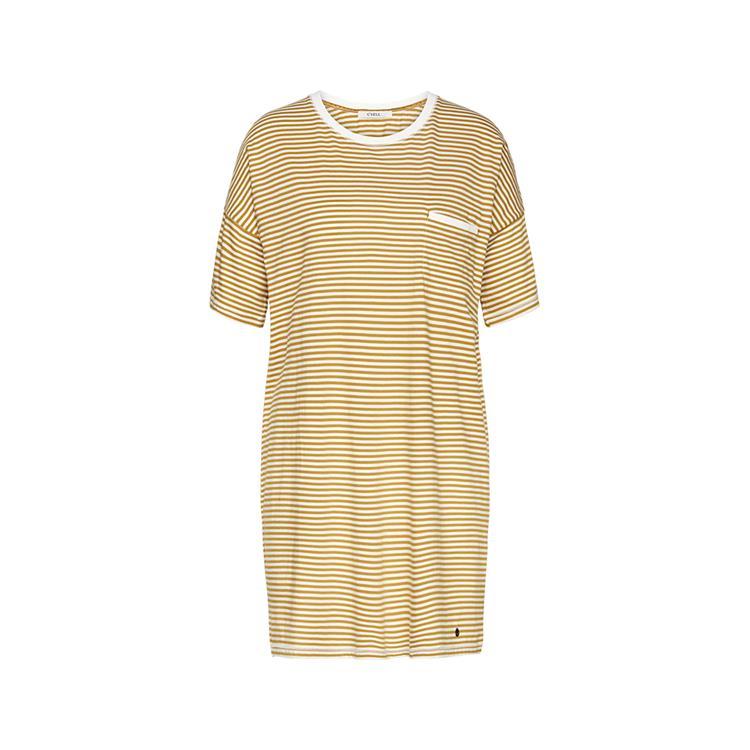 Cyell jurk short sleeve Stripe Ochre