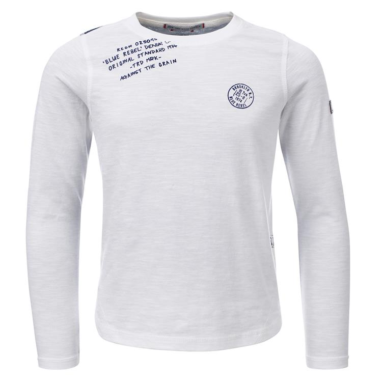 Blue Rebel  -  T-shirt long sleeve - Off white melange - dudes