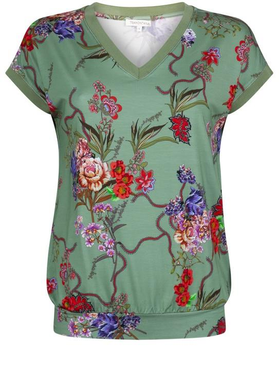 Tramontana T-Shirt Flower Print Green