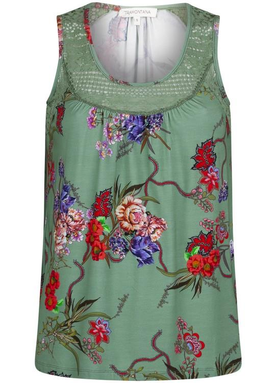 Tramontana Top S/L Flower Print Green