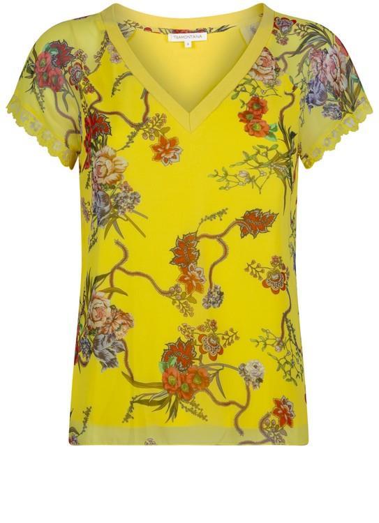 Tramontana Top V-Neck Flower Print Yel