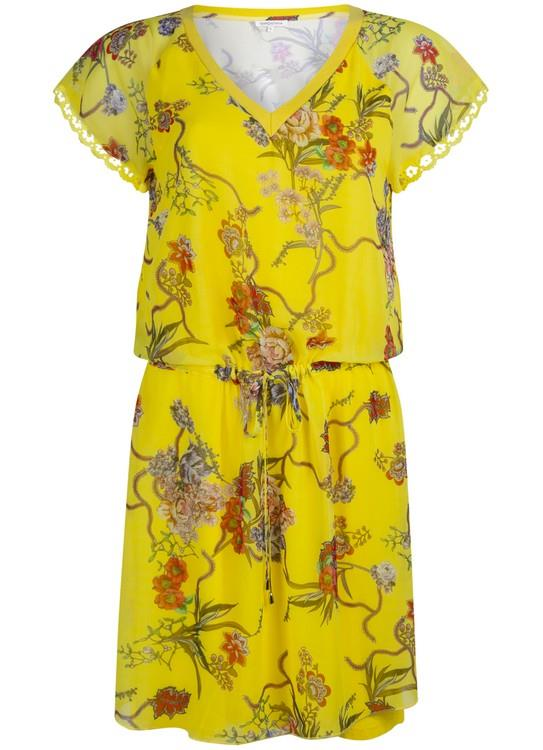 Tramontana Jurk V-Neck Flower Print Yellow