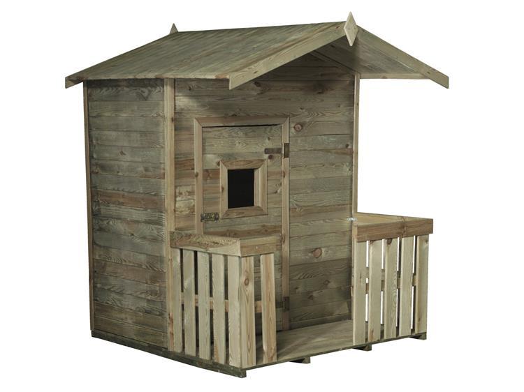 Kinderhuisje Tommy met veranda geschaafd en Celfix geimpregneerd