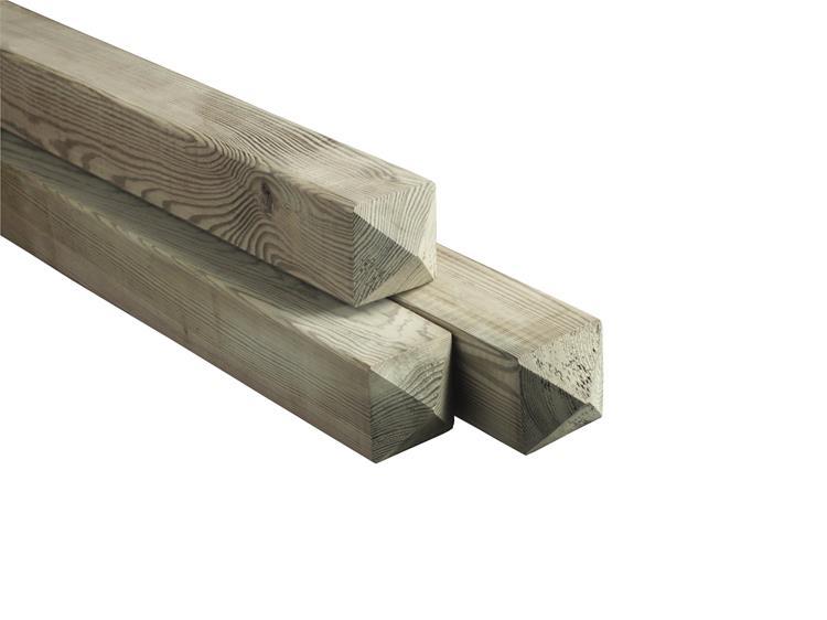 Paal met diamantkop geschaafd en Celfix  geimpregneerd (180 x 6,8 cm)