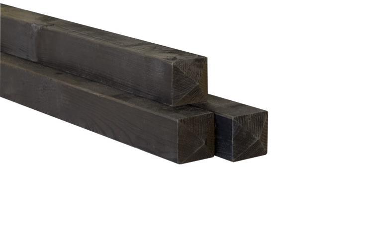 Paal rustiek zwart (vuren met diamantkop geschaafd en Celfix geimpregneerd) (270 x 6,8 cm)