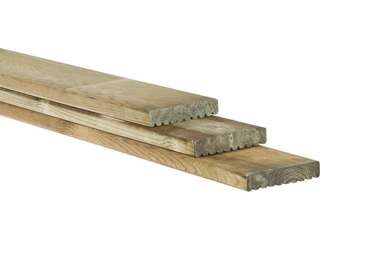 Vlonderplank  geschaafd en Celfix geimpregneerd (400 cm)